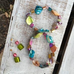 Jewelry - PASTEL BEADED BRACELETS & BEADED EARRINGS SET EUC